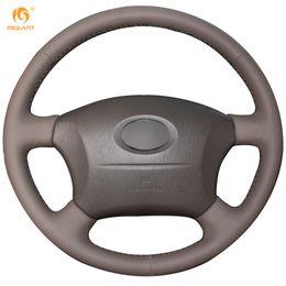 Wholesale Toyota Cruiser - Mewant Dark Brown Genuine Leather Steering Wheel Cover for Old Toyota Land Cruiser Prado 120 Lexus LS400 1995 GX GX470 2004-2009