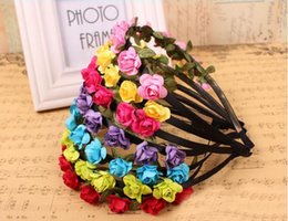 Wholesale Wholesale Faux Pearl Garland - Cheapest!!!2017 Hot Hair Ornament Handmade Seaside Vacation Tour Rose Hairband Hairband Garland Hair Flowers, 5pcs Wholesale