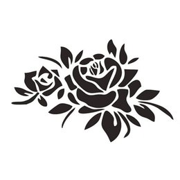 Wholesale Flower Decals Cars - 23*16CM ROSE FLOWERS Cover Car Stickers Car Decals Marks Roses Reflective Stickers
