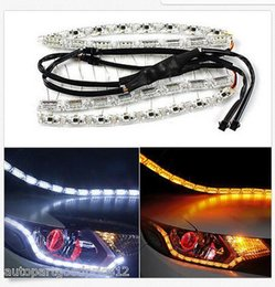 Wholesale Led Strips For Headlights - Autos FlexibleTear Eye Dual Color LED Strip DRL Light bulb &Turn Signal For Headlight wholesale price