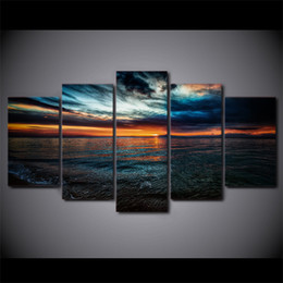 Wholesale Beach Panel Wall Art - Modern Wall Art home decorative Seascape Painting For Living room 5 Piece Sunset Beach Seawater Canvas Paintings Poster Print