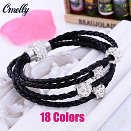 Wholesale Ceramic Magnetic Bracelets Black - New Braided Leather Wrap Bracelet with Crystal Disco Ball Magnetic Clasp Shamballa Bracelet Magnetic Jewelry for Women