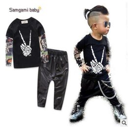 Wholesale Tattoo Style T Shirts - Samgami Baby Boys Clothes Kids Tattoo Sleeves T-shirt Pants 2Pcs Outfits Ins Clothes Boys Clothing Set Baby Boys Clothes Boutique Clothing
