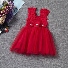 Wholesale Wholesale Beautiful Short Dresses - summer girls dress baby lace flower fancy skirts kids mesh tutu skirt children beautiful dresses 6 colors for choose