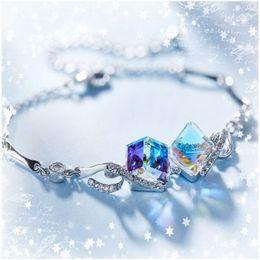 Wholesale Cube Link - 2017 Hot Sale Crystal Women Bracelet Cube Geometric Solid Fashion Diamond Distinctive Fine Silver Jewelry Christmas gift