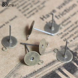 new diy products Promo Codes - BoYuTe New Product 200 Pieces 6mm 8mm Earring Base with One Loop Diy Stud Earring Jewelry Findings