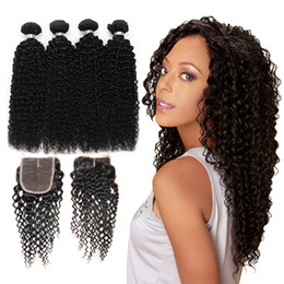Wholesale Queen Hair Curly Closure - Queen 10A Brazillian Kinky Curly 4 Bundles With Closure 8-28 inch Brazilian Curly Virgin Hair With Closure Kinky Curly Silk Base Closure