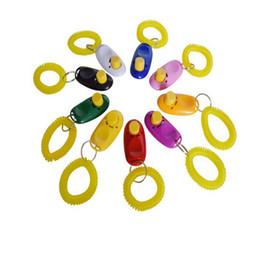 2019 anelli portachiavi 7color Party Dog Pet Clicker Addestratore di addestramento Addestramento sonoro Anello portachiavi incluso Prodotti di addestramento Agility anelli portachiavi economici
