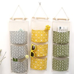 Wholesale Eco Bags Linen - New Cotton Linen Wall Hanging Organizer Bag Multi-layer Holder Storage Bag Home Decoration Makeup Rack Linen Jewelry 3 Pocket