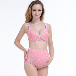 Wholesale High Waist Cotton Maternity Underwear - Cotton Feeding Bra for Pregnant Women Maternity Panty Underwear Nursing Set High Waist Panties Slim Fit Maternity Clothes