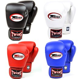 Wholesale Black Leather Gear - 8 10 Oz Twins Gloves Kick Boxing Gloves Leather PU Sanda Sandbag Training Black Boxing Gloves Men Women Guantes Muay Thai