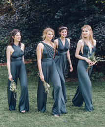 Wholesale V Neck Jumpsuits Cheap - Dark Navy Cap Sleeves Jumpsuit Bridesmaid Dresses Cheap 2017 Chiffon Satin Convertibale Multiway Maid Of The Honor Dresses Divided Skirt
