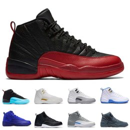 Wholesale Cheap Mens Gym Shoes - [With Box]cheap mens basketball shoes air retro 12 man TAXI Playoff ovo white Gray Black Gym barons cherry RED Flu Game sport sneaker boots
