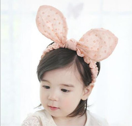 Wholesale Photo Wires - Bunny ears Wire Headband Little girls Hair band Kids Hair Accessories Easter Bunny Children Gift Newborn Photo Prop YH631