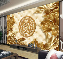 Sculptures sur bois en Ligne-Sculptures en bois 3D et décors de salon riche papier peint 3d Papier peint 3d pour toile de fond tv