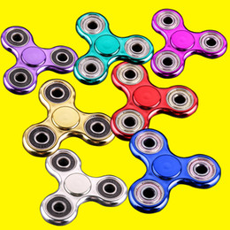 Wholesale Gold Plated Kids - Metallic Color Plated EDC Fidget Spinners Rotate Hand Spinner Decompression Toys Black Gold Finger Toy Funny Toy OTH378