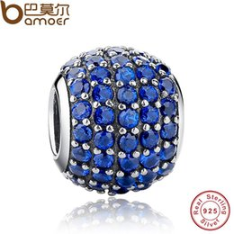 Wholesale Pandora Blue Lights - Pandora Style Luxury 925 Sterling Silver Pave Light Blue Crystal Ball Charm Fit Original Bracelet With Clear Cubic Zirconia PAS071