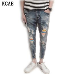 Wholesale Hole Tear Sexy - Wholesale- new spring summer 2016 hole in men's jeans nine points han edition men's trousers torn jeans male, sexy jeans Size 28-34