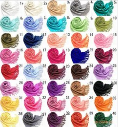Wholesale Cashmere Ladies Scarfs Wholesale - DHL free shipping MIC Mxed Pashmina Cashmere Solid Shawl Wrap Women's Girls Ladies Scarf Soft Fringes Solid Scarf Size:180*70cm