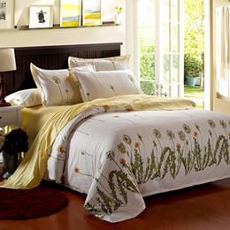 Wholesale Double Comforter Sets - Wholesale- Hot Single Double King Dandelion Bedding Set Duvet Quilt Cover Pillow Case Falt Sheet Comforter Bedclothes For Bed