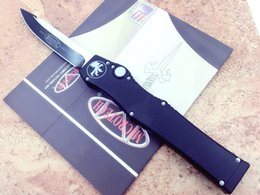 Wholesale Blue Knives - microtech Classic Knife HALO Glory V blade D head Aluminum handle D2 27CM red black blue CNC Xmas gift for men 1pcs freeshipping