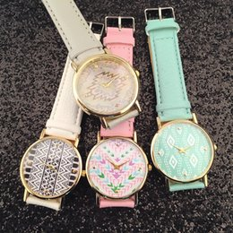 Wholesale Logo Geneva - Geneva no Logo Men Women Wristwatches Leather Band Fashion Watches Aztec Print Wrist Watches DHL Fedex Free Shipping