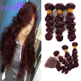 Wholesale Dark Wine Color Hair - Top Quality Burgundy Brazilian Human Hair Loose Wave With Closure Dark Wine Red Brazilian Hair With Closure Red Bundles With Closure