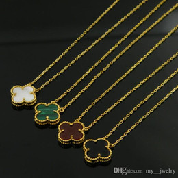 Wholesale Generations Necklace - Wholesale brand high quality Necklace Women's Clover Necklace Agate Shell Korea Clavicle Necklace One Generation Anti-allergy