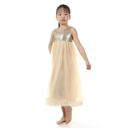 Wholesale Maxi Sequin Dress Wholesale - Flower Girls Long Maxi Dress Children Gold Sequin Cream Tulle Dresses Kids Fashion Lace Chiffon Boutique Clothes