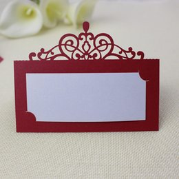 Wholesale Christmas Place Card Holders - Party centerpieces red table card laser cut crown design card holders palce card customized free shipping