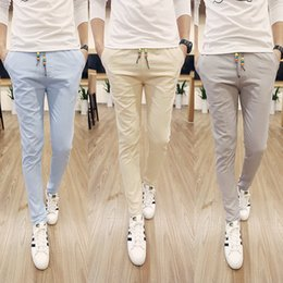 Wholesale Stylish Casual Pants - Wholesale-2015 Hot Sale New Stylish High Quality Men's Casual Pants Solid Color Cotton Pants Slim Mens White Trousers Free Shipping M-5XL