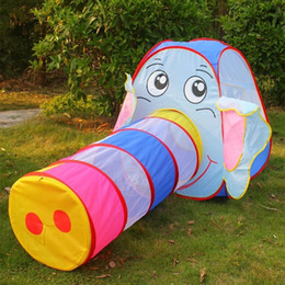 Wholesale Tunnel Tents For Kids - Wholesale- Baby Tunnel Toy Multicolor Elephant Tunnel Tents for Kids Outdoor Toys for Kids