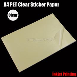 Wholesale Adhesive Printer - Wholesale- 2016 25pcs A4 Clear Transparent PET Film Adhesive Paper Sticker Paper Waterproof Fit Inkjet Printer cip01