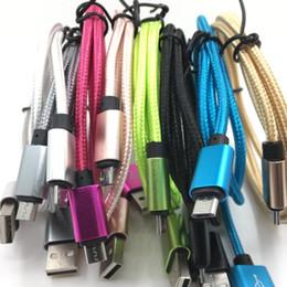 Deutschland 1M 2M buntes Nylon umsponnenes Mikro-USB-Kabel-Daten-Synchronisierungs-Schnellladekabel-Schnur-Draht 200pcs / lot geben DHL frei cheap colorful nylon cord Versorgung