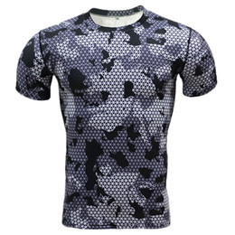 Wholesale long sleeve t shirts wholesale - Wholesale- Summer Compression Camouflage Casual Shirt 2016 Fitness Men Short Sleeve Tights Bodybuilding Crossfit Flash Camo T-Shirt