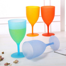 Wholesale Plastic Wine Goblets - Plastic Goblet Cup Candy Colors Eco Friendly Red Wine Glass Cup Pokal Transparent Cups Smooth Mouth Goblets OOA1827