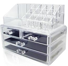 Wholesale Makeup Organizer Acrylic Box - Acrylic Makeup Organizer Cosmetic Jewerly Display Box 2 Piece Set by AcryliCase®