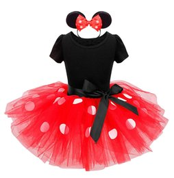 Wholesale Infant Ballet - New Years kids Ballet dress Princess Party Costume Infant Clothing Polka Dot Baby Clothes Birthday Christms Girls tutu dress Head band 1034C