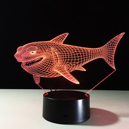 Wholesale Shark Night Lights - 2016 Shark 3D Optical Illusion Lamp Night Light DC 5V USB Charging AA Battery Dropshipping Free Shipping