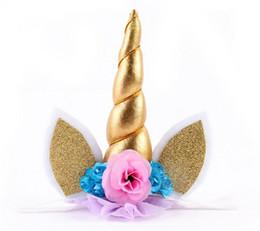Wholesale Felt Hair Bands - 2017 Glitter Headbands for Girls Children Kids 5 Inch Felt Padded Flower Hair Band Hair Accessories DIY Party Supplies