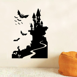 Wholesale people window - aw9423 Halloween Shop Glass Window Living Room Stickers Wall Stickers Halloween Castle and Bat Decoration Free Shipping