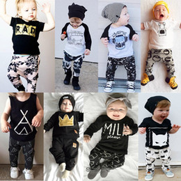 Wholesale Two Cute Babies - Cute T-shirt pants Baby set Kids Clothing Sets Summer fashion girl boy two sets of children's suit 1468