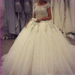 Wholesale New Sexy Sweetheart Lace Stunning - Stunning Beaded Applique Ball Gown Sheer Wedding Dresses 2017 with Cap Sleeve Court Train Plus Size Backless Bridal Gowns New Arrival