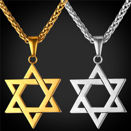 Wholesale Star Necklaces For Women - Star of David Pendant for Women Men Jewelry 18K Real Gold Plated Stainless Steel Magen David Necklace Pendant