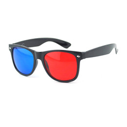 Wholesale Plastic Projector - Wholesale- Universal type Red Blue 3D Plastic Glasses for 3D DVD Home Theater Movie Cinema Game Projector