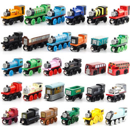 Wholesale Magnetic Girl - Wooden Small Trains Cartoon Toys 70 Styles Trains Friends Wooden Trains & Car children boy girl Toys Best Christmas Gifts Free Shipping