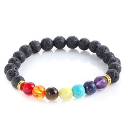 Wholesale Colorful Bracelets For Men - Popular bead bracelets Chakra 8MM Volcanic Bead Bracelets Colorful Energy Yoga Buddha bracelets for men free shipping