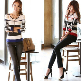 Wholesale Sweater Round Neck - Wholesale-Women Long Sleeve Round Neck Striped Knit Sweater Shirt Slim Pullover Tops