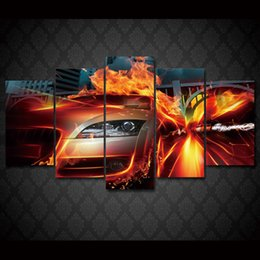 Wholesale Fast Poster Printing - 5 Pcs Set Framed HD Printed Fast cars Painting on canvas decoration print poster picture canvas framed Free shipping ny-1130