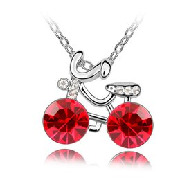 Wholesale Bicycle Chain Links - Fashion girls jewelry cute bicycle pendant necklace made with Swarovski elements crystal for 2017 kids women gift